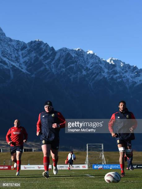 Queenstown New Zealand 5 July 2017 British Irish Lions players from left Rory Best Tadhg Furlong and Courtney Lawes during a training session at the...
