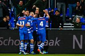 Queensy Menig of PEC Zwolle Bart Schenkeveld of PEC Zwolle Thomas Lam of PEC Zwolle Ouasim Bouy of PEC Zwolle Dirk Marcellis of PEC Zwolle during the...