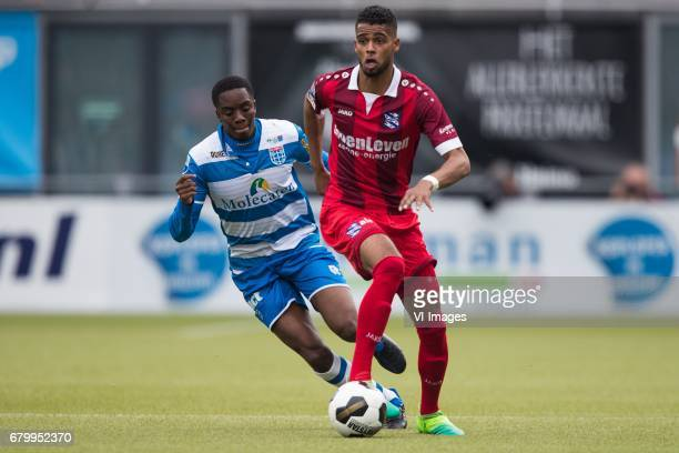Queensy Menig of PEC Zwolle Jeremiah St Juste of sc Heerenveenduring the Dutch Eredivisie match between PEC Zwolle and sc Heerenveen at the MAC3Park...