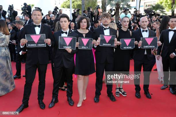 Queer Jury Members Lidia Leber Terki Travis Mathews and Yair Hochner attend the '120 Beats Per Minute ' screening during the 70th annual Cannes Film...