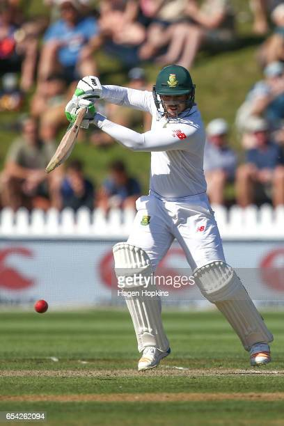 Quentin de Kock of South Africa bats during day two of the test match between New Zealand and South Africa at Basin Reserve on March 17 2017 in...