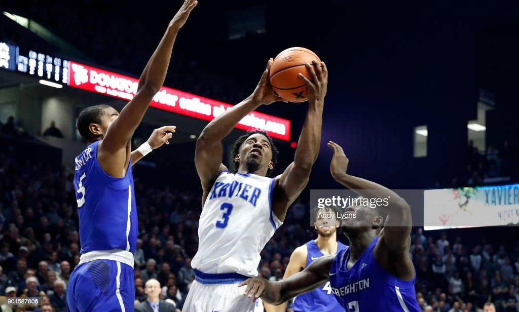 Quentin Goodin #3 of the Xavier Musketeers shoots the ball against the Creighton Bluejays at Cintas Center on January 13, 2018 in Cincinnati, Ohio.