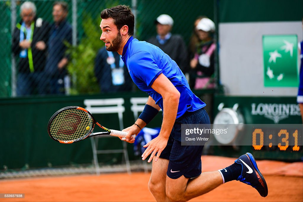 Quentin Halys during the Men's Singles first round on day three of the French Open 2016 at Roland Garros on May 24, 2016 in Paris, France.
