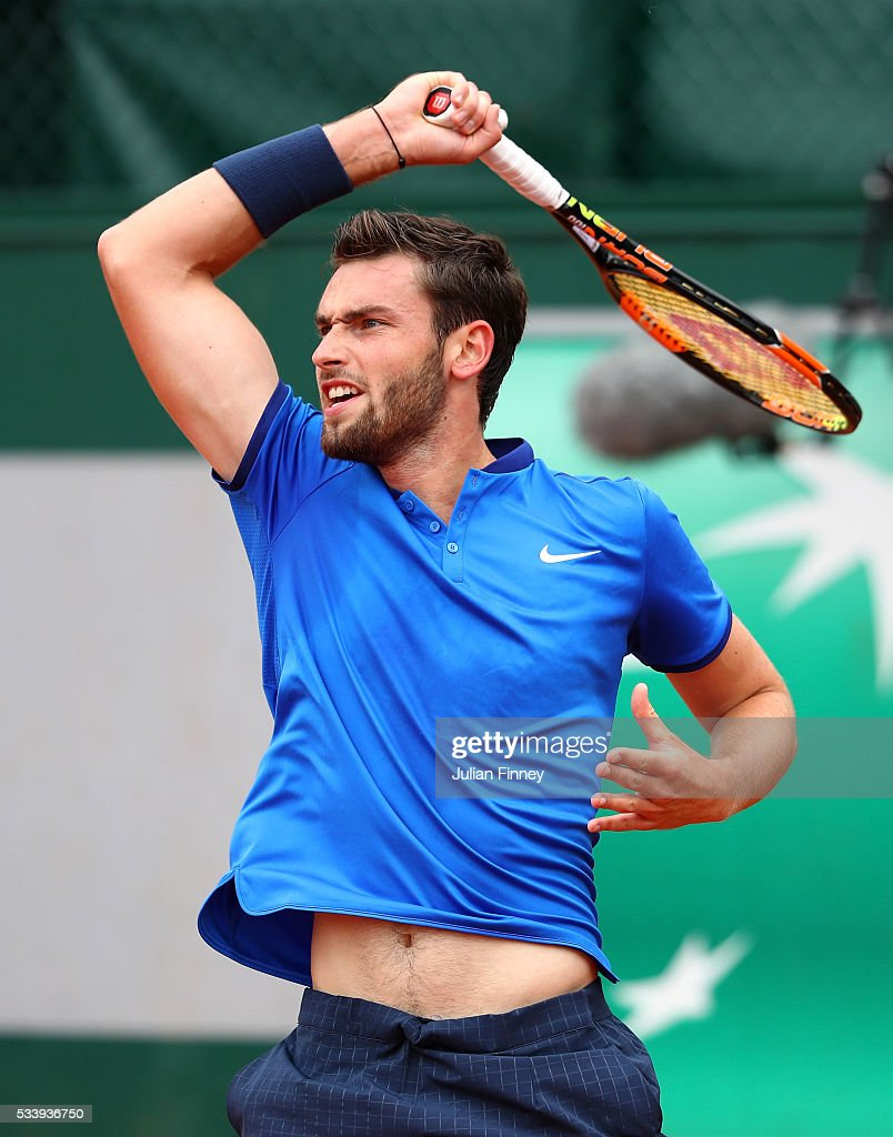 Quentin Halys of France plays a forehand during the Men's Singles first round match against Hyeon Chung of Korea on day three of the 2016 French Open at Roland Garros on May 24, 2016 in Paris, France.