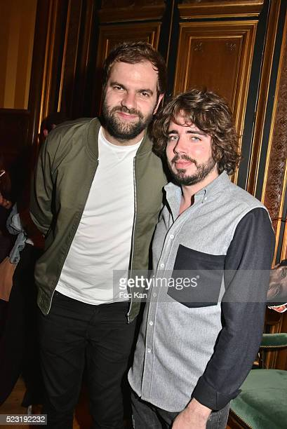Quentin Margot and Eric Metzger from Le Petit Journal attend Villa Schweppes Party at Hotel Le Marois on April 21 2016 in Paris France