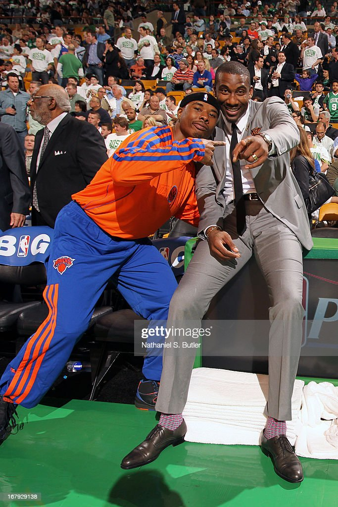 Quentin Richardson #55 and Amar'e Stoudemire #1 of the New York Knicks pose for a picture before the game against the Boston Celtics in Game Three of the Eastern Conference Quarterfinals during the 2013 NBA Playoffs on April 26, 2013 at the TD Garden in Boston.