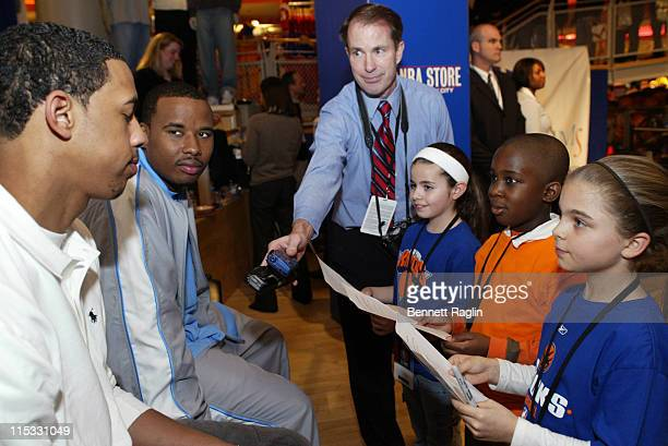 Quentin Richardson and Channing Frye during The NBA Store Hosts the NY Knicks for a Toy Drive on Behalf of the Garden of Dreams Foundation March 7...