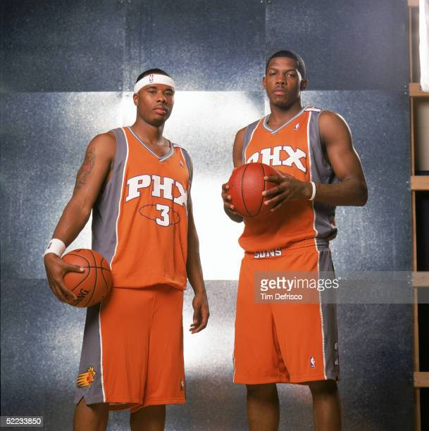 Quentin Richardson and Joe Johnson of the Phoenix Suns pose for a portrait prior to competing in the Footlocker 3Point Shootout during 2005 NBA...