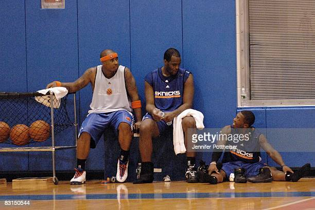 Quentin Richardson Malik Rose and Nate Robinson of the New York Knicks talk before their practice at the team facility on October 6 2008 in Tarrytown...