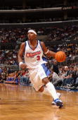 Quentin Richardson of the Los Angeles Clippers moves the ball during the game against the San Antonio Spurs at Staples Center on April 11 2004 in Los...