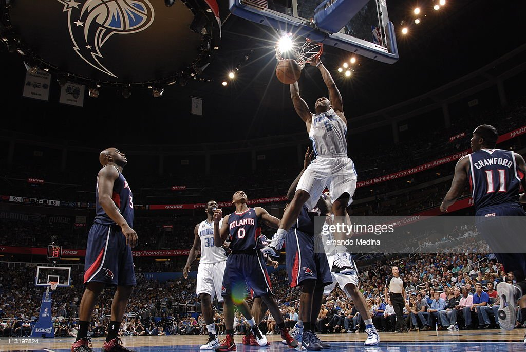 <a gi-track='captionPersonalityLinkClicked' href=/galleries/search?phrase=Quentin+Richardson&family=editorial&specificpeople=201714 ng-click='$event.stopPropagation()'>Quentin Richardson</a> #5 of the Orlando Magic dunks against the Atlanta Hawks in Game Five of the Eastern Conference Quarterfinals in the 2011 NBA Playoffs on April 26, 2011 at the Amway Center in Orlando, Florida.