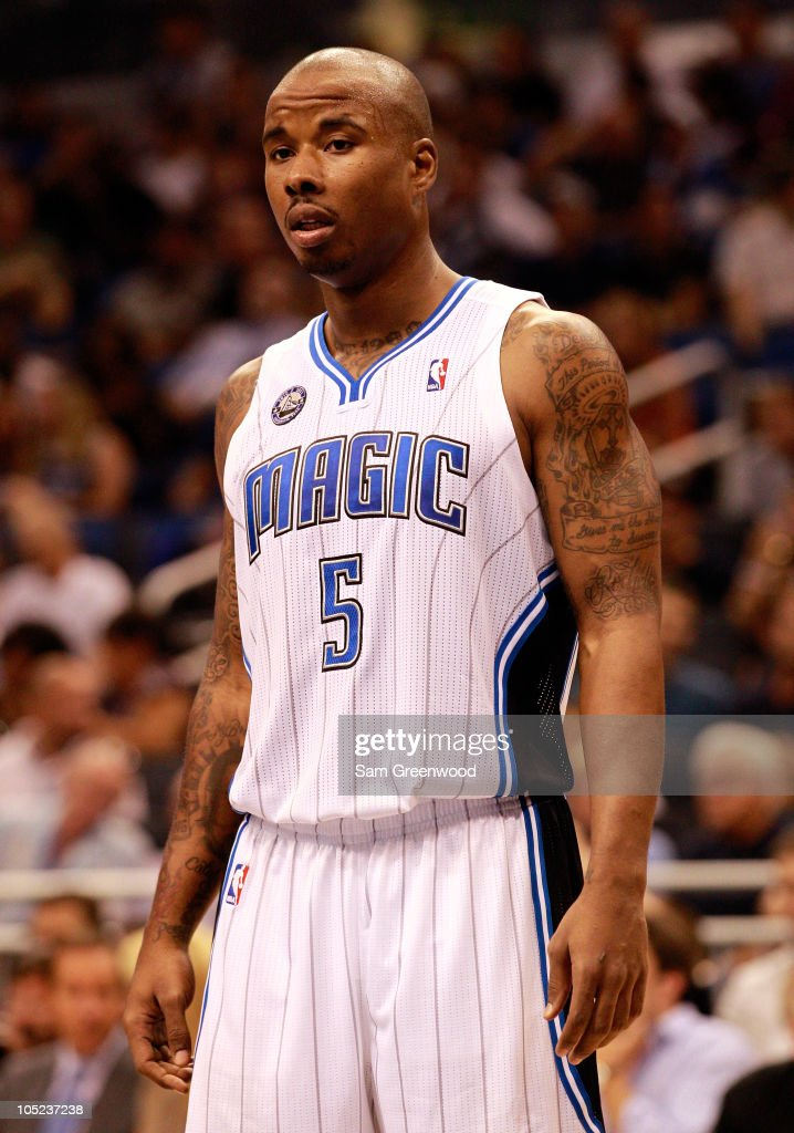 <a gi-track='captionPersonalityLinkClicked' href=/galleries/search?phrase=Quentin+Richardson&family=editorial&specificpeople=201714 ng-click='$event.stopPropagation()'>Quentin Richardson</a> #5 of the Orlando Magic waits to enter the game against the New Orleans Hornets at Amway Arena on October 10, 2010 in Orlando, Florida.