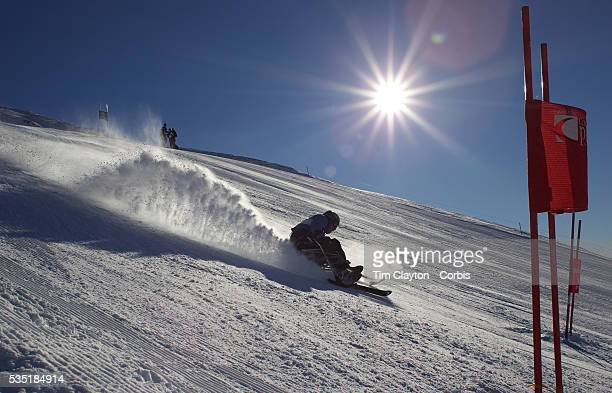 Quentin Smith New Zealand in action during the Men's Giant Slalom Sitting Adaptive competition at Coronet Peak during the Winter Games Queenstown New...