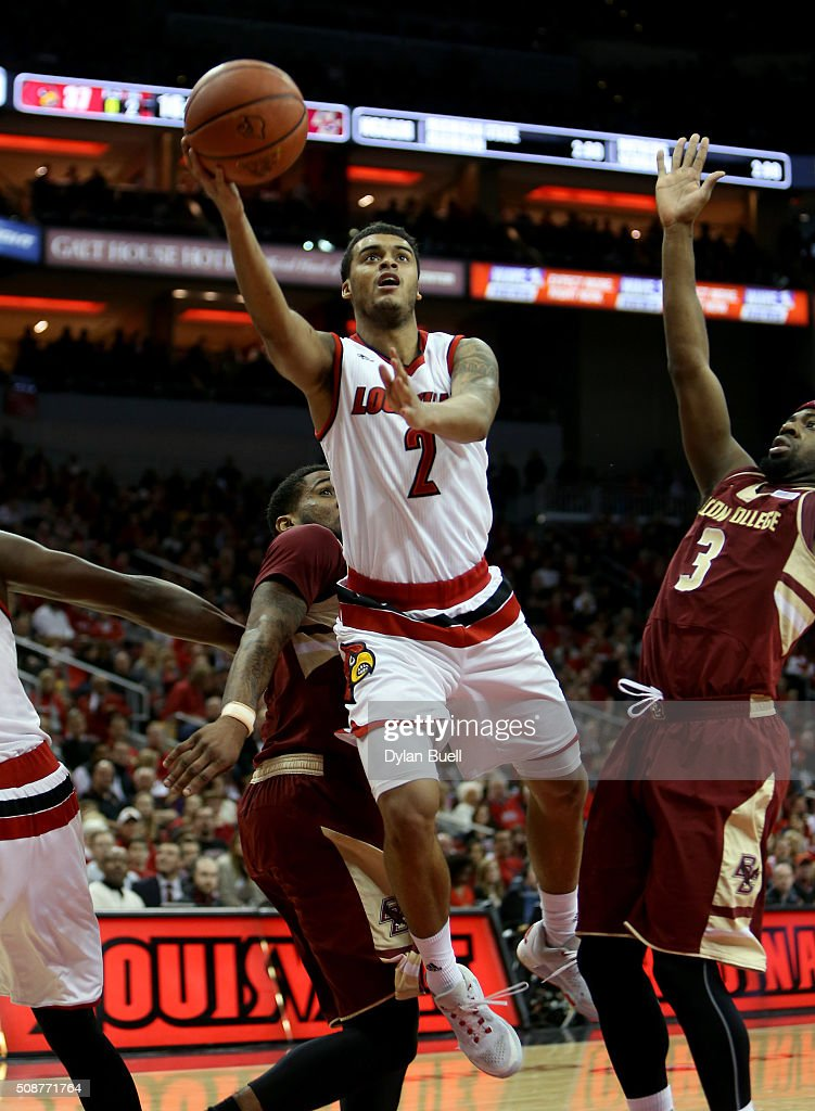 Quentin Snider #2 of the Louisville Cardinals attempts a layup during the second half against the Boston College Eagles at KFC Yum! Center on February 6, 2016 in Louisville, Kentucky.