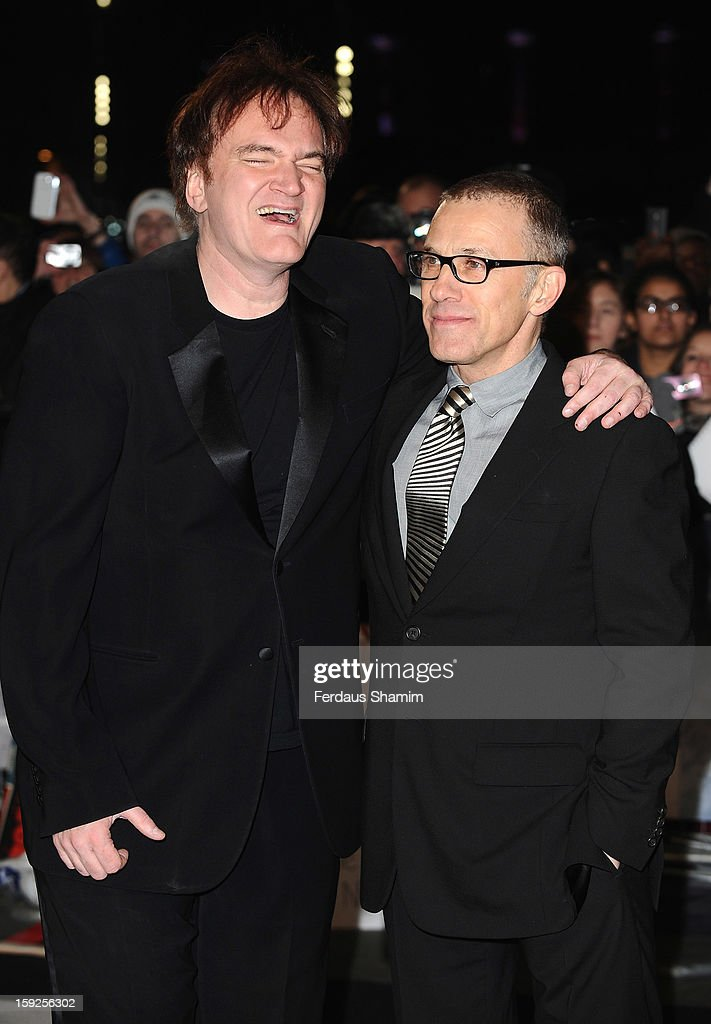 <a gi-track='captionPersonalityLinkClicked' href=/galleries/search?phrase=Quentin+Tarantino&family=editorial&specificpeople=171796 ng-click='$event.stopPropagation()'>Quentin Tarantino</a> and Christoph Waltz attend the UK Premiere of 'Django Unchained' at Empire Leicester Square on January 10, 2013 in London, England.