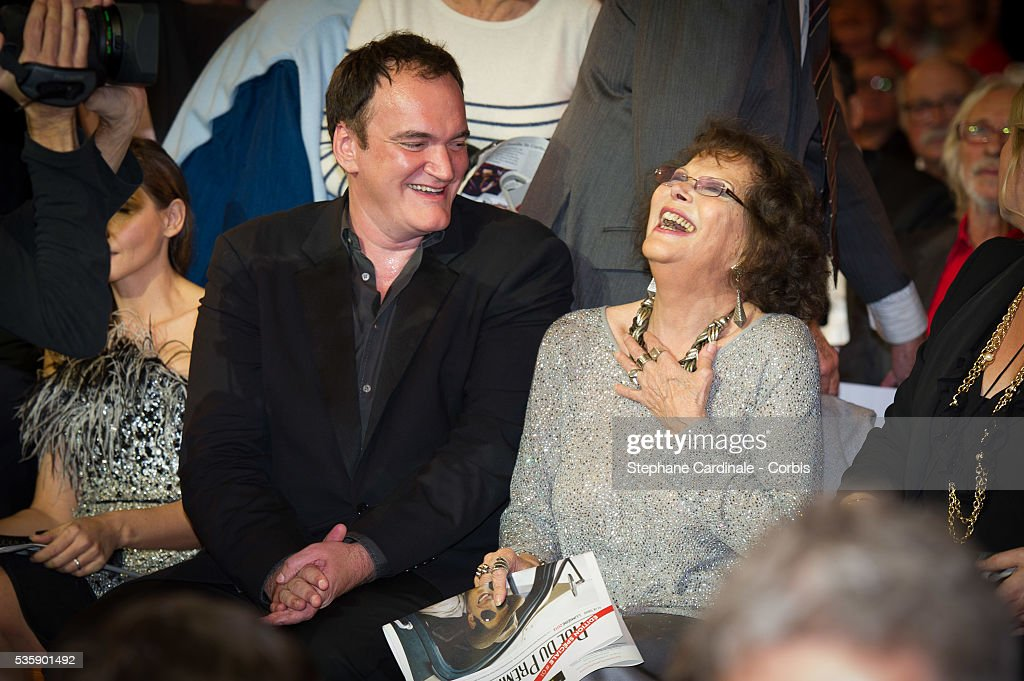 Quentin Tarantino and Claudia Cardinale attend the Tribute to Jean Paul Belmondo and Opening Ceremony of the Fifth Lumiere Film Festival, in Lyon.