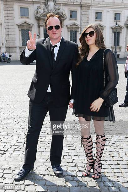 Quentin Tarantino and Courtney Hoffman attend the '2015 David Di Donatello' Nominees at Palazzo del Quirinale on June 12 2015 in Rome Italy