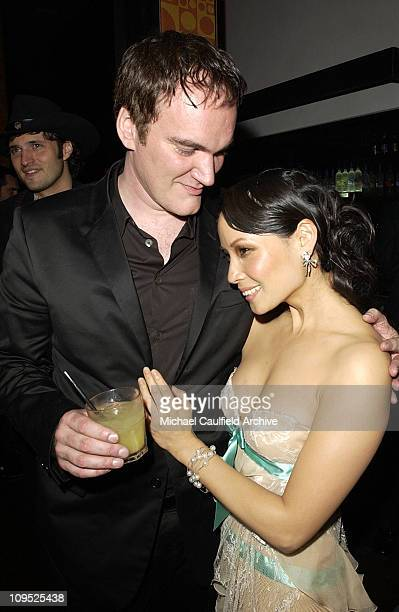 Quentin Tarantino and Lucy Liu during 'Kill Bill Vol 2' World Premiere After Party at The Ivar in Hollywood California United States