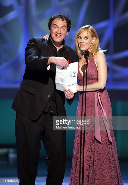 Quentin Tarantino and Marg Helgenberger presenters Outstanding Made for Television Movie