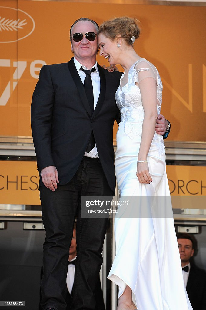 <a gi-track='captionPersonalityLinkClicked' href=/galleries/search?phrase=Quentin+Tarantino&family=editorial&specificpeople=171796 ng-click='$event.stopPropagation()'>Quentin Tarantino</a> and <a gi-track='captionPersonalityLinkClicked' href=/galleries/search?phrase=Uma+Thurman&family=editorial&specificpeople=171973 ng-click='$event.stopPropagation()'>Uma Thurman</a> attend the Closing Ceremony and 'A Fistful of Dollars' screening during the 67th Annual Cannes Film Festival on May 24, 2014 in Cannes, France.