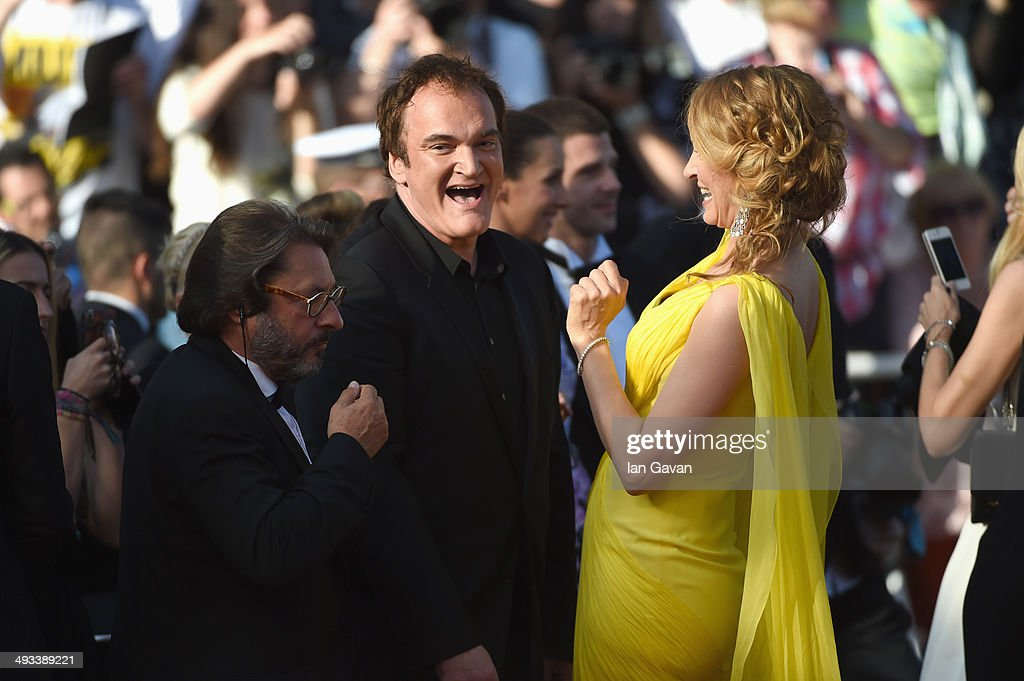 <a gi-track='captionPersonalityLinkClicked' href=/galleries/search?phrase=Quentin+Tarantino&family=editorial&specificpeople=171796 ng-click='$event.stopPropagation()'>Quentin Tarantino</a> and <a gi-track='captionPersonalityLinkClicked' href=/galleries/search?phrase=Uma+Thurman&family=editorial&specificpeople=171973 ng-click='$event.stopPropagation()'>Uma Thurman</a> attend the 'Clouds Of Sils Maria' premiere during the 67th Annual Cannes Film Festival on May 23, 2014 in Cannes, France.
