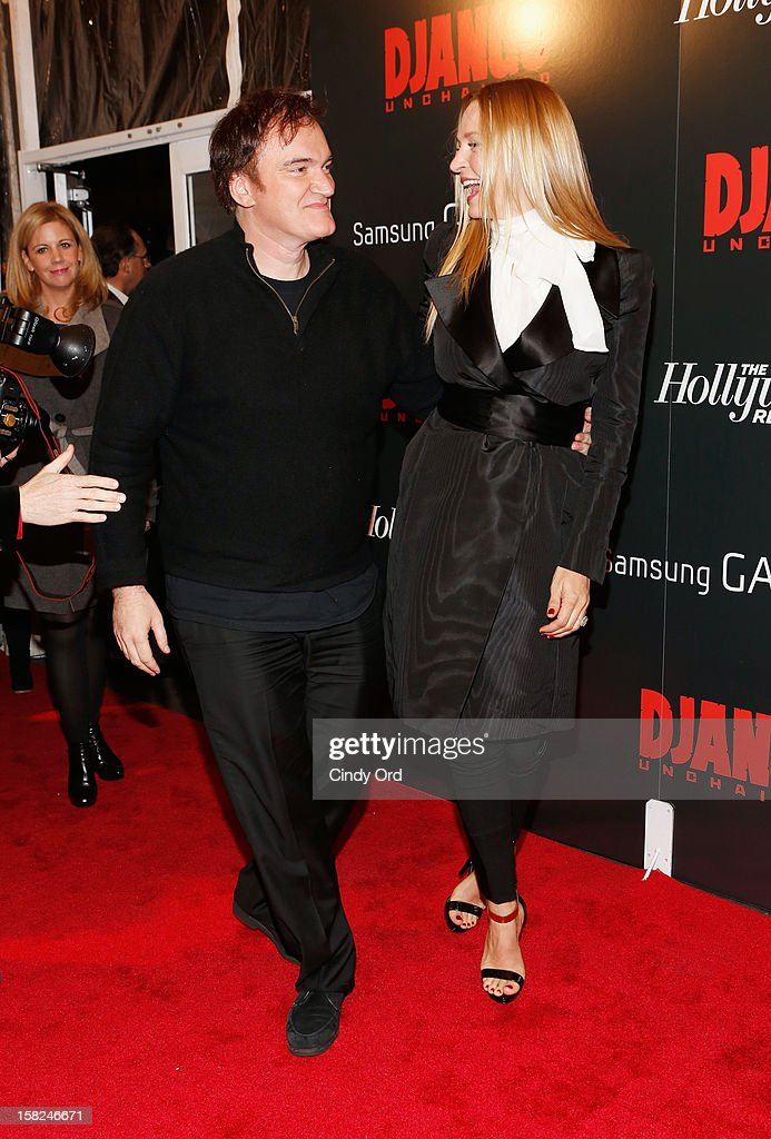 Quentin Tarantino and Uma Thurman attend the Django Unchained NY premiere at Ziegfeld Theatre on December 11, 2012 in New York City.