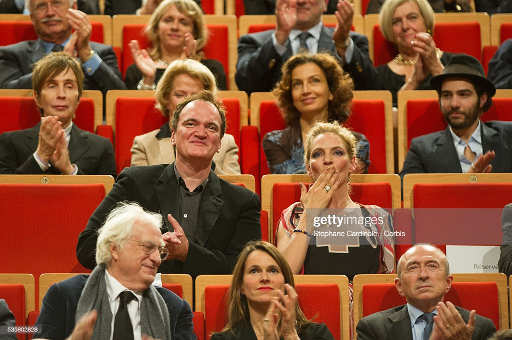 Quentin Tarantino and Uma Thurman attend the Tribute to Quentin Tarantino, during the 5th Lumiere Film Festival, in Lyon.