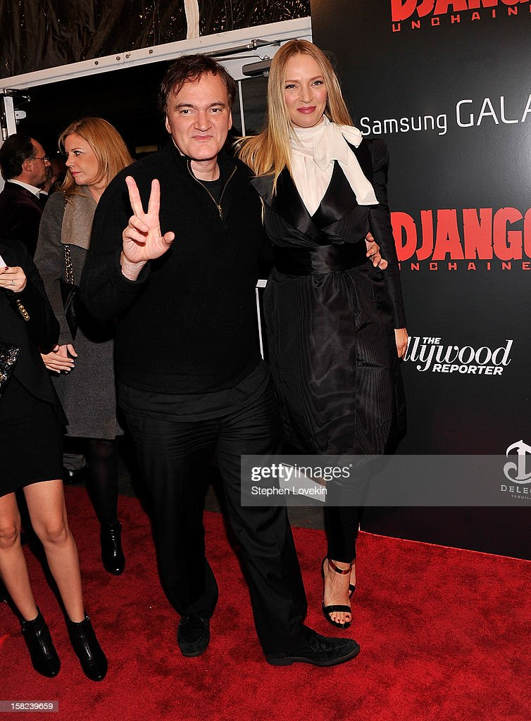 <a gi-track='captionPersonalityLinkClicked' href=/galleries/search?phrase=Quentin+Tarantino&family=editorial&specificpeople=171796 ng-click='$event.stopPropagation()'>Quentin Tarantino</a> and <a gi-track='captionPersonalityLinkClicked' href=/galleries/search?phrase=Uma+Thurman&family=editorial&specificpeople=171973 ng-click='$event.stopPropagation()'>Uma Thurman</a> attend The Weinstein Company With The Hollywood Reporter, Samsung Galaxy And The Cinema Society Host A Screening Of 'Django Unchained' at Ziegfeld Theater on December 11, 2012 in New York City.