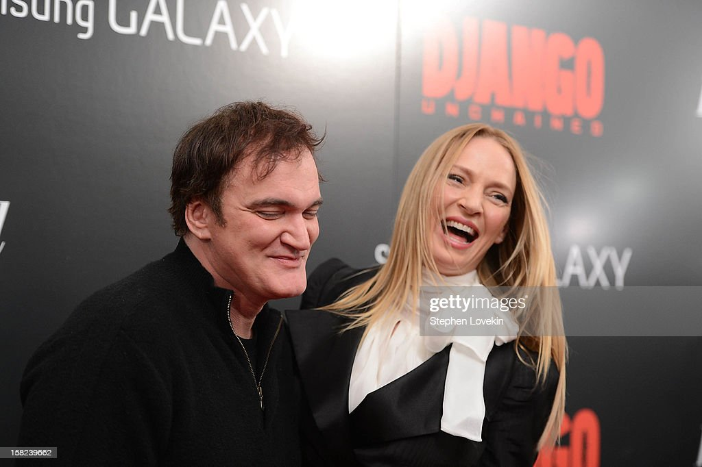 Quentin Tarantino and Uma Thurman attend The Weinstein Company With The Hollywood Reporter, Samsung Galaxy And The Cinema Society Host A Screening Of 'Django Unchained' at Ziegfeld Theater on December 11, 2012 in New York City.
