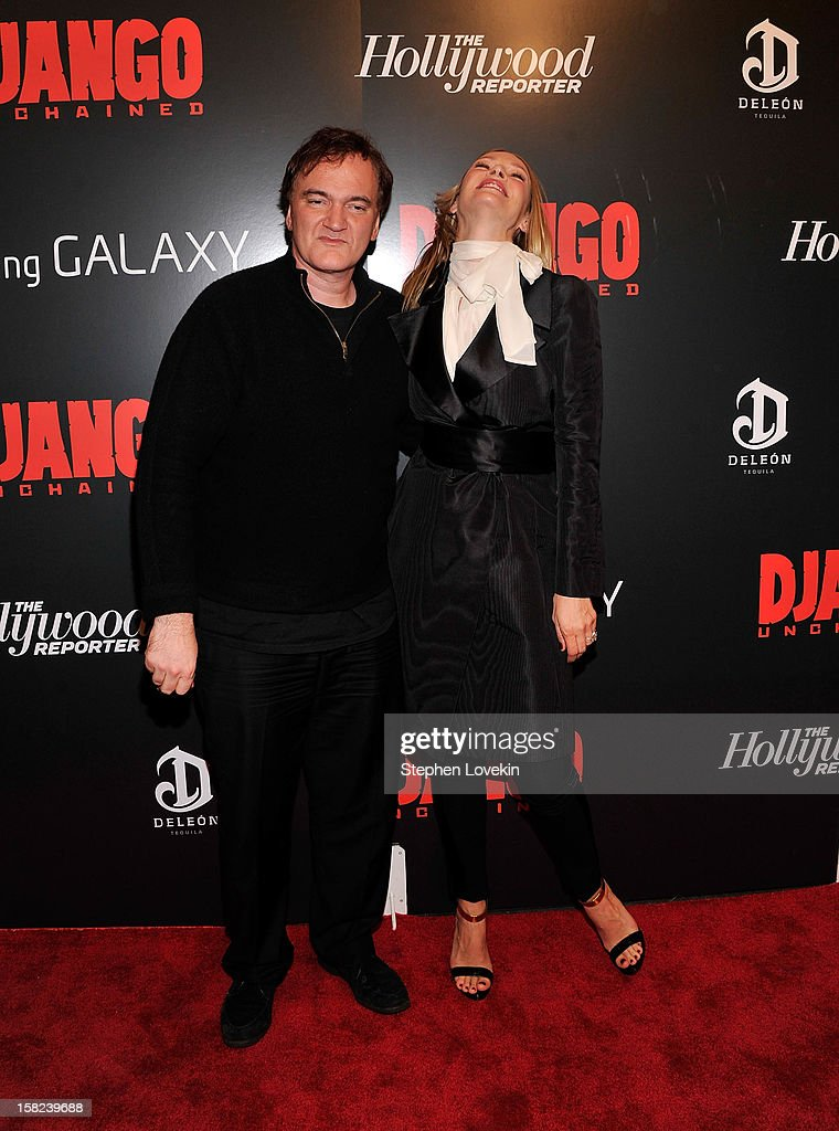 Quentin Tarantino and Uma Thurman attends a screening of 'Django Unchained' hosted by The Weinstein Company with The Hollywood Reporter, Samsung Galaxy and The Cinema Society at Ziegfeld Theater on December 11, 2012 in New York City.
