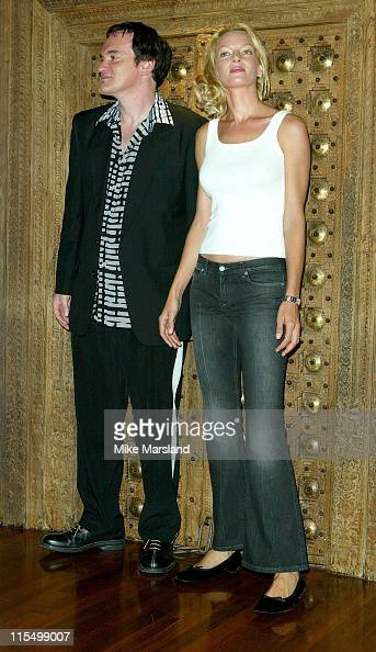 Quentin Tarantino and Uma Thurman during 'Kill Bill Vol 1' Photocall London October 2 2003 at Dorchester Hotel in London United Kingdom