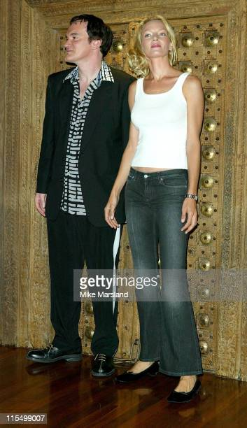 Quentin Tarantino and Uma Thurman during 'Kill Bill Vol 1' Photocall London October 2 2003 at Dorchester Hotel in London United Kingdom