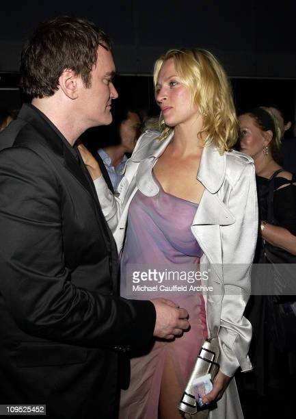 Quentin Tarantino and Uma Thurman during 'Kill Bill Vol 2' World Premiere After Party at The Ivar in Hollywood California United States
