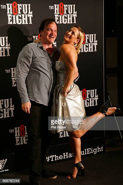 Quentin Tarantino and Zoe Bell pose as they arrive ahead of the New Zealand premiere of The Hateful Eight at on January 20 2016 in Auckland New...