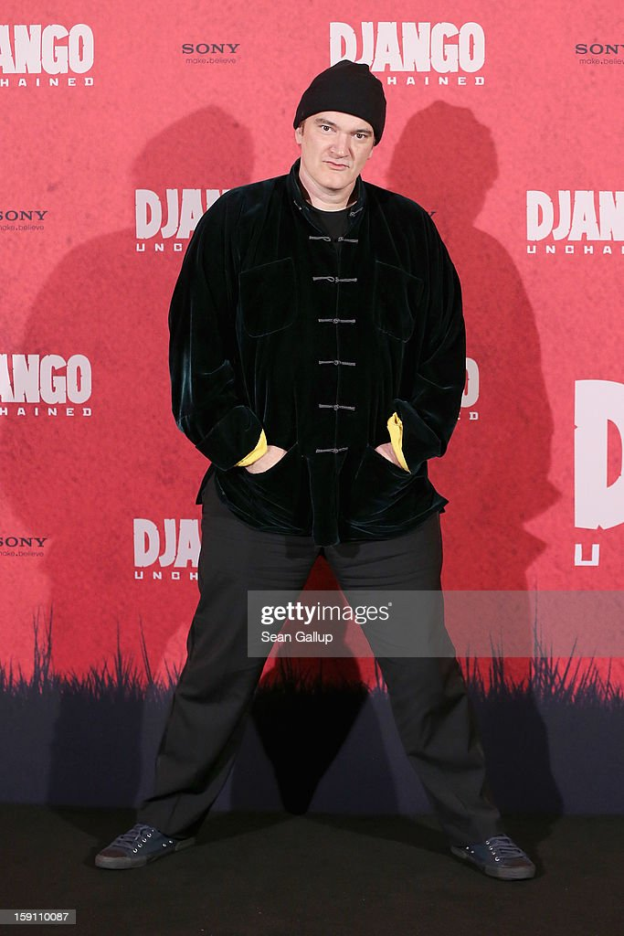 <a gi-track='captionPersonalityLinkClicked' href=/galleries/search?phrase=Quentin+Tarantino&family=editorial&specificpeople=171796 ng-click='$event.stopPropagation()'>Quentin Tarantino</a> attends 'Django Unchained' Berlin Photocall at Hotel de Rome on January 8, 2013 in Berlin, Germany.
