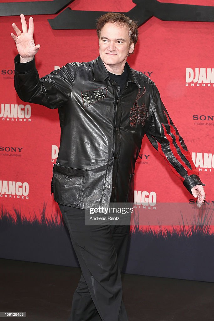 <a gi-track='captionPersonalityLinkClicked' href=/galleries/search?phrase=Quentin+Tarantino&family=editorial&specificpeople=171796 ng-click='$event.stopPropagation()'>Quentin Tarantino</a> attends 'Django Unchained' Berlin Premiere at Cinestar Potsdamer Platz on January 8, 2013 in Berlin, Germany.