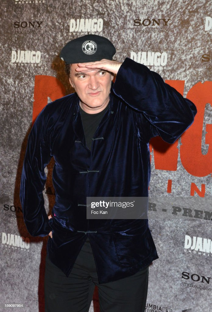 <a gi-track='captionPersonalityLinkClicked' href=/galleries/search?phrase=Quentin+Tarantino&family=editorial&specificpeople=171796 ng-click='$event.stopPropagation()'>Quentin Tarantino</a> attends the 'Django Unchained' Paris premiere red carpet arrival at Le Grand Rex on January 7, 2013 in Paris, France.