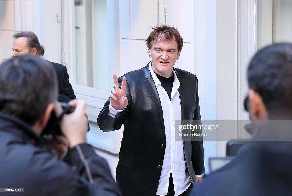 <a gi-track='captionPersonalityLinkClicked' href=/galleries/search?phrase=Quentin+Tarantino&family=editorial&specificpeople=171796 ng-click='$event.stopPropagation()'>Quentin Tarantino</a> attends the 'Django Unchained' photocall at the Hassler Hotel on January 4, 2013 in Rome, Italy.
