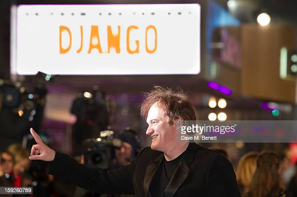 Quentin Tarantino attends the UK Premiere of 'Django Unchained' at Empire Leicester Square on January 10 2013 in London England