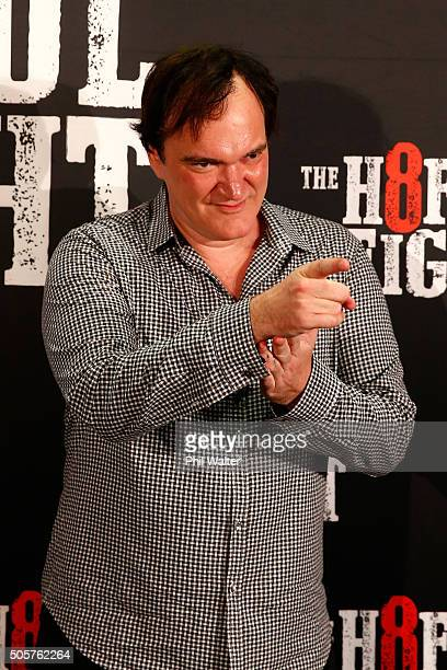 Quentin Tarantino poses as he arrives ahead of the New Zealand premiere of The Hateful Eight at on January 20 2016 in Auckland New Zealand