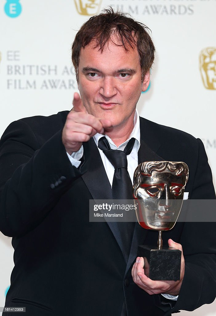 <a gi-track='captionPersonalityLinkClicked' href=/galleries/search?phrase=Quentin+Tarantino&family=editorial&specificpeople=171796 ng-click='$event.stopPropagation()'>Quentin Tarantino</a> poses in the Press Room at the EE British Academy Film Awards at The Royal Opera House on February 10, 2013 in London, England.