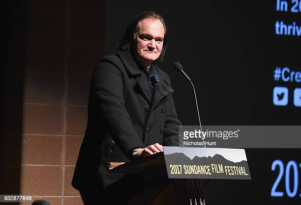 Quentin Tarantino speaks at the 'Reservoir Dogs' 25th Anniversary Screening during the 2017 Sundance Film Festival at Eccles Center Theatre on...