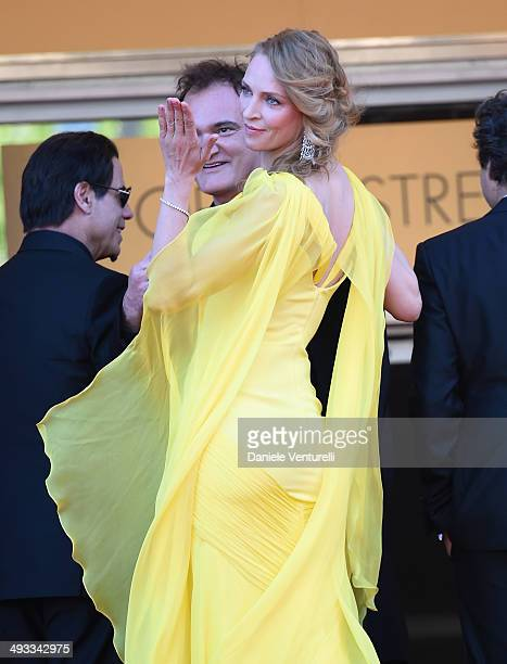 Quentin Tarantino Uma Thurman attend the 'Clouds Of Sils Maria' Premiere during the 67th Annual Cannes Film Festival on May 23 2014 in Cannes France