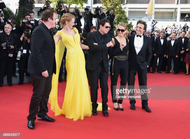 Quentin Tarantino Uma ThurmanJohn Travolta Kelly Preston and Lawrence Bender attend the 'Clouds Of Sils Maria' Premiere during the 67th Annual Cannes...