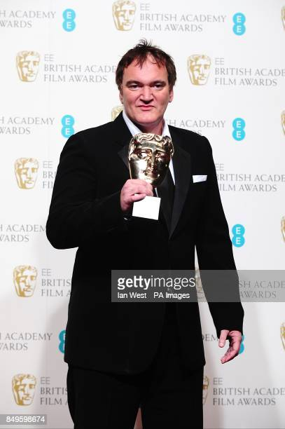 Quentin Tarantino with the award for Best Original Screenplay for 'Django Unchained' in the press room at the 2013 British Academy Film Awards at the...