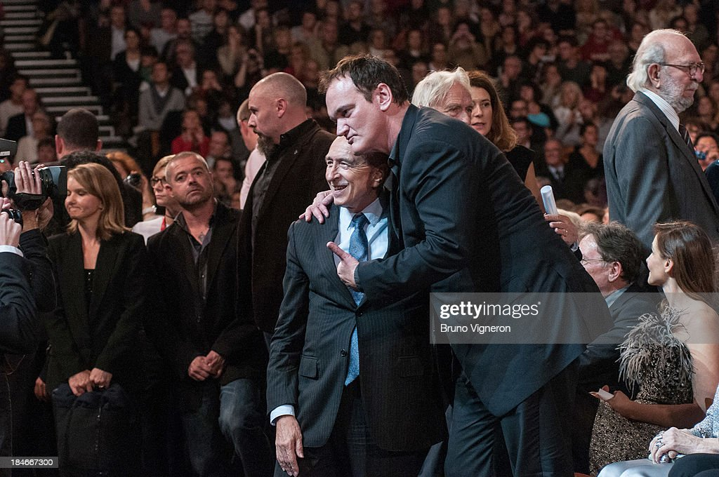 Quentin Tarentino and Gerad Collomb attend the 5th Lyon Film Festival on October 14, 2013 in Lyon, France.