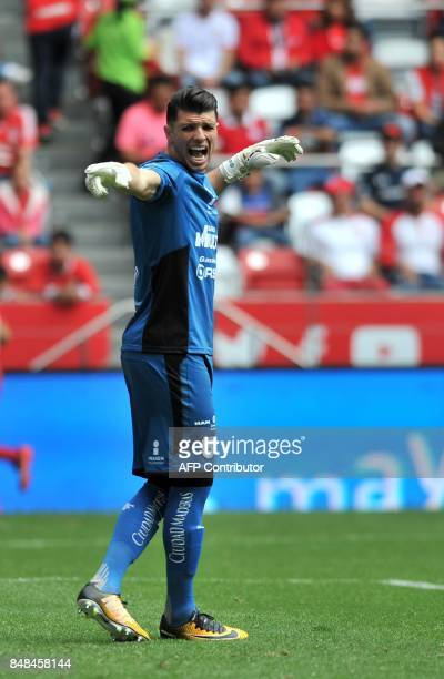 Queretaro's goalkeeper Tiago Volpi gives instructions to teammates during the Mexican Apertura football tournament match against Toluca at the...