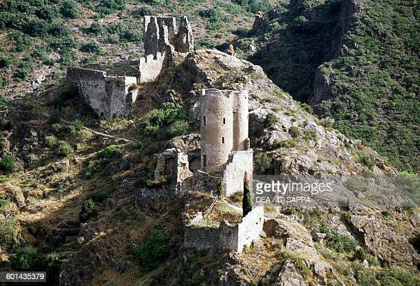Quertinheux and Surdespine castles of Lastours LanguedocRoussillon France 11th century