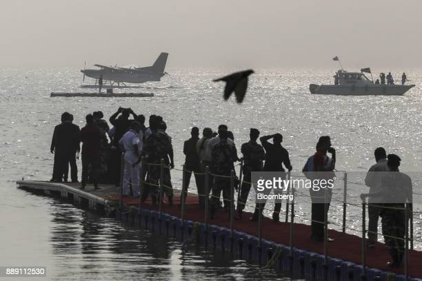 A Quest Aircraft Co amphibiousKodiakplane operated by SpiceJet Ltd left floats on water during a demonstration flight event in Mumbai India on...