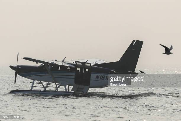 A Quest Aircraft Co amphibiousKodiakplane operated by SpiceJet Ltd floats on water during a demonstration flight event in Mumbai India on Saturday...